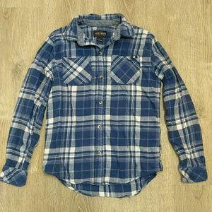Boys L Lucky Flannel Shirt Blue Plaid Cotton Soft
